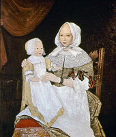 0023106 © Granger - Historical Picture ArchiveMRS. FREAKE, 1674.   Mrs. Elizabeth Freake and Baby Mary. Oil on canvas, Boston, 1674, by an unknown artist.