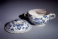 0026031 © Granger - Historical Picture ArchiveGERMAN DRINKING BOWL, 1800.   German Faience Drinking bowl brought to Stonington, Connecticut, by the Copp family, c1800.
