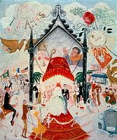 0033008 © Granger - Historical Picture ArchiveFLORINE STETTHEIMER.   'Cathedrals of Fifth Avenue, NY'. Oil on canvas, 1932, by Florine Stettheimer. EDITORIAL USE ONLY.