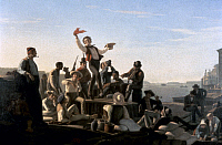 0046962 © Granger - Historical Picture ArchiveBINGHAM: FLATBOATMEN, 1857.   George Caleb Bingham: Jolly Flatboatmen in Port. Oil on canvas, 1857.
