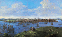 0085530 © Granger - Historical Picture ArchiveVIEW OF BOSTON, 1738.   Oil on canvas, 1738, by John Smibert.