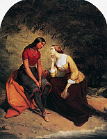 0088509 © Granger - Historical Picture ArchiveMATTESON: HETTY AND HIST.   The Meeting of Hetty and Hist. Oil on canvas, 1857, by Tompkins Harrison Matteson.