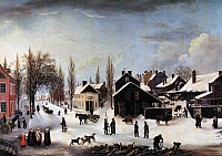 0091744 © Granger - Historical Picture ArchiveBROOKLYN, c1820.   Winter scene in Brooklyn. Oil, c1817-1820, by Louisa Ann Coleman after Francis Guy.