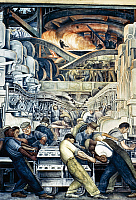 0115314 © Granger - Historical Picture ArchiveDIEGO RIVERA: DETROIT.   Detail of Diego Rivera's mural at the Detroit Institute of Arts depicting the American automobile industry, 1932-33.