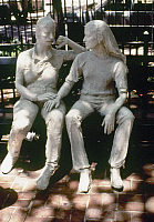 0115464 © Granger - Historical Picture ArchiveSEGAL: GAY LIBERATION, 1980.   Part of the sculpture group 'Gay Liberation' in Sheridan Square, New York City, by George Segal, 1980.