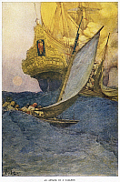 0115562 © Granger - Historical Picture ArchiveHOWARD PYLE: PIRATES.   'An Attack on a Galleon.' Frontispiece from 'Howard Pyle's Book of Pirates,' 1921.