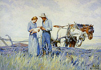 0120140 © Granger - Historical Picture ArchiveKOERNER: THE HOMESTEADERS.   Oil painting by W.H.D. Koerner, 1932. EDITORIAL USE ONLY.