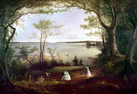 0124424 © Granger - Historical Picture ArchiveCOATES: NEW YORK HARBOR.   'View of New York Harbor.' Oil on canvas by Edmund C. Coates, active 1837-1872. The view is from the 'Duelling Ground' at Weehawken, New Jersey.