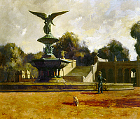 0124707 © Granger - Historical Picture ArchiveSHIKLER: FOUNTAIN, 1961.   Aaron Shikler: The Fountain. Oil on canvas, 1961. The Angel of Waters and the Bethesda Fountain in Central Park, New York City. EDITORIAL USE ONLY.