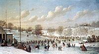 0124728 © Granger - Historical Picture ArchiveICE SKATING, 1865.   Skating scene in Central Park at 59th Street. Oil on canvas by Johann Mongels Culvershouse, 1865.