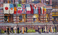 0124735 © Granger - Historical Picture ArchiveHASSAM: ALLIED FLAGS, 1917.   Childe Hassam: Allied Flags, Union League Club.   Oil on canvas, 1917. The man carrying a portfolio is the artist.