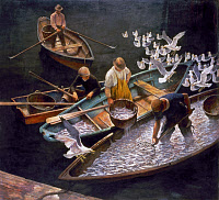 0128991 © Granger - Historical Picture ArchiveN.C. WYETH: FISHERMEN.   Dark Harbor Fishermen. Tempera on panel, 1943, by N.C. Wyeth. EDITORIAL USE ONLY.