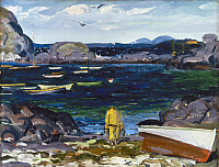 0128995 © Granger - Historical Picture ArchiveBELOWS: HARBOR, 1913.   The Harbor, Monhegan Coast, Maine. Oil on panel by George Bellows, 1913.