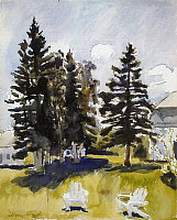 0128997 © Granger - Historical Picture ArchiveFAIRFIELD PORTER: JULY.   Sketch for 'July.' Watercolor by Fairfield Porter, 1971. EDITORIAL USE ONLY.