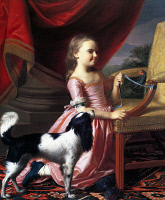 0131599 © Granger - Historical Picture ArchiveCOPLEY: YOUNG LADY, 1767.   Young Lady with a Bird and Dog. Oil on canvas by John Singleton Copley, 1767.