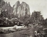 0133628 © Granger - Historical Picture ArchiveMUYBRIDGE: CATHEDRAL ROCKS.   The Cathedral Rocks formation at Yosemite National Park in California. Photograph by Eadward Muybridge, c1870.