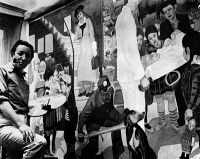 0172856 © Granger - Historical Picture ArchiveFABER: MURAL PAINTING, c1940.   American artist Arthur Faber painting a mural at the Willard Parker Hospital in New York City, funded by the Federal Arts Project, c1940.