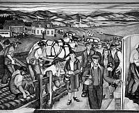 0175993 © Granger - Historical Picture ArchiveESNER: INDUSTRY MURAL.   A line of workers in New Hampshire entering a shoe factory (right), as farmers plow an adjacent field. Left detail of a mural in the University of New Hampshire library, painted by Arthur Esner for the Works Progress Administration, 1938-42.