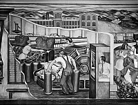 0175995 © Granger - Historical Picture ArchiveESNER: INDUSTRY MURAL.   Work in a New Hampshire textile mill. Detail from a mural in the University of New Hampshire library, painted by Arthur Esner for the Works Progress Administration, 1938-42.