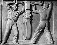 0175999 © Granger - Historical Picture ArchiveSTEA: SEWAGE WORKERS.   'Riveting.' Workmen installing part of an underground sewage system. Panel from the frieze 'Construction,' in the Bowery Bay Sewage Disposal Plant in Queens, New York, sculpted by Cesare Stea for the Works Progress Administration, 1939.