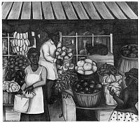 0176546 © Granger - Historical Picture ArchiveDRABKIN: MARKET.   Produce being sold at a market in an African American neighborhood of Philadelphia, Pennsylvania. Painting by Stella Drabkin, c1935.