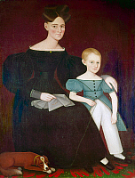 0260217 © Granger - Historical Picture ArchivePHILLIPS: MOTHER AND SON.   'Portrait of Mrs. Stephen Nottingham Ostrander and Son, Titus.' Oil on canvas, c1838.