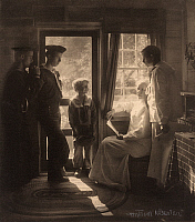0267694 © Granger - Historical Picture ArchiveCLARENCE H. WHITE   (1871-1925). American photographer. With his family at F. Holland Day's house in Maine. Platinum print photograph by Gertrude Käsebier, 1913.