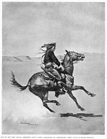 0355177 © Granger - Historical Picture ArchiveREMINGTON: SCOUT, c1890.   'One of the Fort Keogh Cheyenne Scout Corps, Commanded by Lieutenant Casey.' Drawing by Frederic Remington, c1890.