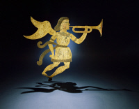 0409414 © Granger - Historical Picture ArchiveWEATHER VANE, c1840.   A weather vane in the silhouette of the angel Gabriel was created with sheet iron and designed for the trumpet to point in the direction of the wind, New England, c1840.