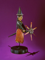 0409426 © Granger - Historical Picture ArchiveWITCH WHIRLIGIG, c1850.   Whirligig, or wind toy, made of wood and fitted with a broom topped with a propeller, from New Hampshire or Massachusetts by an unknown artist, c1850.