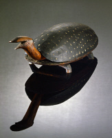 0409427 © Granger - Historical Picture ArchiveFOOTSTOOL, c1850.   Wooden footstool in the form of a smiling spotted turtle, artist unknown. Footstool, c1850.
