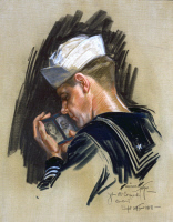 0526433 © Granger - Historical Picture ArchiveSAILOR, 1918.   Portrait of a sailor looking at a picture of his sweetheart. Painting by Fisher Harrison, 1918.