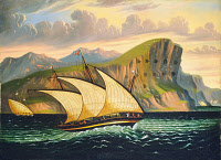 0620084 © Granger - Historical Picture ArchiveCHAMBERS: GIBRALTAR.   'Felucca off Gibraltar.' Oil on canvas by Thomas Chambers, mid-19th century.