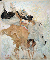 0622644 © Granger - Historical Picture ArchiveBRINKLEY: GOLDEN EYES, 1918.   'Golden Eyes with Uncle Sam.' A young woman, 'Golden Eyes' with a dog named Uncle Sam, holding a Liberty Bond in his collar. Watercolor, ink, and gouache illustration by Nell Brinkley, 1918.