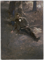 0622645 © Granger - Historical Picture ArchiveSTEPHENS: MAN, 1889.   Portrait of a man sitting under a tree. Oil on board by Alice Barber Stephens, 1889.