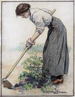 0622646 © Granger - Historical Picture ArchiveSTEPHENS: GARDENING, c1917.   'Somebody has to raise everything you eat, do your share.' A woman gardening on the home front during World War I. Crayon drawing by Alice Barber Stephens, c1917.
