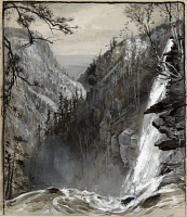 0622682 © Granger - Historical Picture ArchiveFENN: CATSKILLS, c1883.   Haines Falls in the Catskill Mountains, New York. Wash drawing by Harry Fenn, c1883.