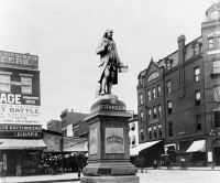 0623455 © Granger - Historical Picture ArchiveBENJAMIN FRANKLIN (1706-1790).   American printer, publisher, scientist, inventor, statesman and diplomat. Statue of Franklin at 10th Street and Pennsylvania Avenue in Washington, D.C. Photograph, late 19th or early 20th century.