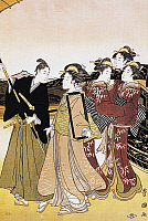 0428723 © Granger - Historical Picture ArchiveASIAN ART.   Walk towards Mount Fuji, 1765, ukiyo-e art print by Suzuki Harunobu (1725-1770), woodcut, Japanese civilization, Edo period, 17th-19th century, detail.  Full credit: De Agostini / G. Dagli Orti / Granger, NYC -- All Rights Reserved.