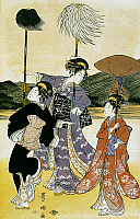 0428726 © Granger - Historical Picture ArchiveASIAN ART.   Walk towards Mount Fuji, 1765, ukiyo-e art print by Suzuki Harunobu (1725-1770), woodcut, Japanese civilization, Edo period, 17th-19th century, detail.  Full credit: De Agostini / G. Dagli Orti / Granger, NYC -- All Rights Reserved.