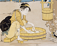 0428756 © Granger - Historical Picture ArchiveASIAN ART.   Women washing in river, cover by Firmin Gillot (1819-1872), Le Japon Artistique (Japanese Art), art and industry documents collected by Siegfried Bing (1838-1905), monthly publication July 1889, France, 19th century.  Full credit: De Agostini / G. Dagli Orti / Granger, NYC -- All Rights Reserved.