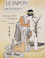 0428757 © Granger - Historical Picture ArchiveASIAN ART.   Woman arranging flowers in vase, cover by Firmin Gillot (1819-1872), Le Japon Artistique (Japanese Art), art and industry documents collected by Siegfried Bing (1838-1905), monthly publication July 1889, France, 19th century.  Full credit: De Agostini / G. Dagli Orti / Granger, NYC -- All Rights Reserved.