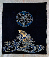 0428767 © Granger - Historical Picture ArchiveASIAN ART.   Carp in waves with family crest in form of oak leaf, cotton futonji bedspread, dyed in reserve with rice starch and indigo dip with pigments, ink, Japanese civilization, Meiji period, 1868-1912.  Full credit: De Agostini Picture Library / Granger, NYC -- All Rights Reserved.