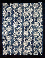 0428775 © Granger - Historical Picture ArchiveASIAN ART.   Futonji bedspread with motifs depicting carp, peonies and bamboo, little mask dyed in reserve with rice starch and indigo dip, 191x152 cm, Japanese civilization, Meiji period, 1868-1912.  Full credit: De Agostini Picture Library / Granger, NYC -- All Rights Reserved.
