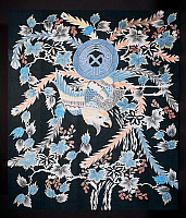 0428792 © Granger - Historical Picture ArchiveASIAN ART.   Futonji bedspread with motifs of phoenix, paulownia and daffodils, cotton, dye with indigo, pigment and ink, 178x152 cm, Japanese civilization, Taisho-Showa period, 1910-1939.  Full credit: De Agostini Picture Library / Granger, NYC -- All Rights Reserved.