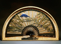 0428834 © Granger - Historical Picture ArchiveASIAN ART.   Fan with black lacquer slats and mother of pearl inlays, decorated with procession scene and Mount Fuji, 1880, painted silk, 57x30 cm, Japanese civilization, Meiji period, 1868-1912.  Full credit: De Agostini / G. Cigolini / Granger, NYC -- All Rights Reserved.