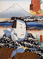 0428942 © Granger - Historical Picture ArchiveASIAN ART.   Portrait of Kabuki theatre actor in front of Mount Fuji, ukiyo-e art print by Utagawa Toyokuni (1769-1825), woodcut, Japanese civilization, Edo period, 17th-19th century.  Full credit: De Agostini / G. Dagli Orti / Granger, NYC -- All Rights Reserved.
