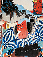 0428945 © Granger - Historical Picture ArchiveASIAN ART.   Portrait of a Kabuki theatre actor red-faced with anger, ukiyo-e art print by Utagawa Toyokuni (1769-1825), woodcut, Japanese civilization, Edo period, 17th-19th century.  Full credit: De Agostini / G. Dagli Orti / Granger, NYC -- All Rights Reserved.