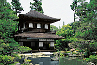 0429034 © Granger - Historical Picture ArchiveASIAN ART.   Temple of Silver Pavilion or Ginkakuji Temple, Kyoto, Kansai, 15th century, Japan.  Full credit: De Agostini / W. Buss / Granger, NYC -- All Rights Reserved.