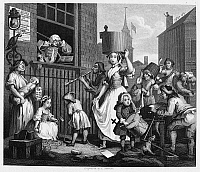 0002678 © Granger - Historical Picture ArchiveHOGARTH: MUSICIAN, 1741.   'The Enraged Musician.' Steel engraving after the etching and engraving, 1741, by William Hogarth.
